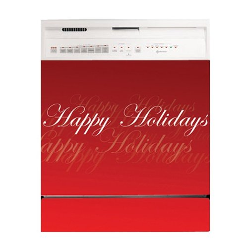 Appliance Art Winter Snow Holiday Christmas Santa Dishwasher Cover Wreath Kitchen Decoration Magnetic (Happy Holiday Script)