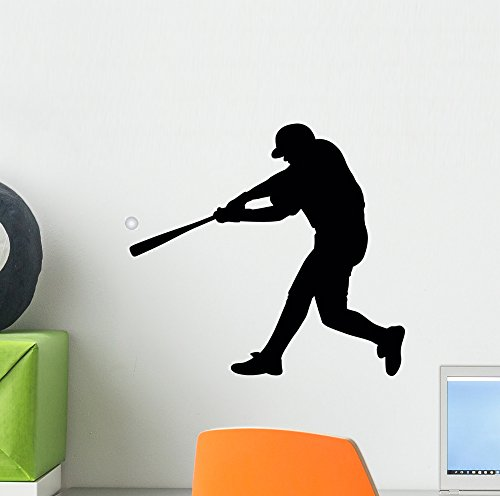 Baseball Silhouette Wall Decal by Wallmonkeys Peel and Stick Graphic (12 in W x 11 in H) WM47004 Baseball Silhouette