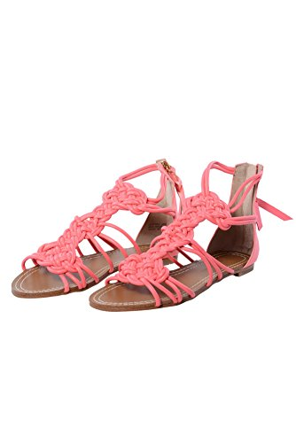 Cynthia Vincent Womens Sienna Leather Gladiator Sandalen Neon Roze