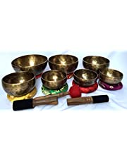 Handmade Buddhist Singing Bowl Chakra Set with 7 Sound Notes