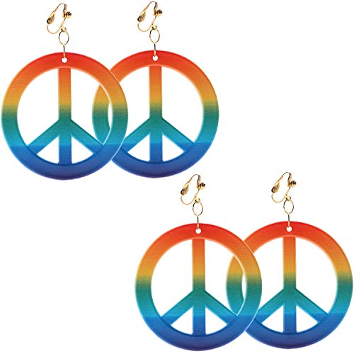 Sunshane 2 Pairs Hippie Style Peace Sign Earrings Hippie Dressing Accessories, Rainbow Color