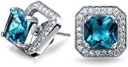 2CT London Blue Cubic Zirconia CZ Halo Square Earring Jacket Princess Cut Stud Earrings Simulated Topaz Sterli
