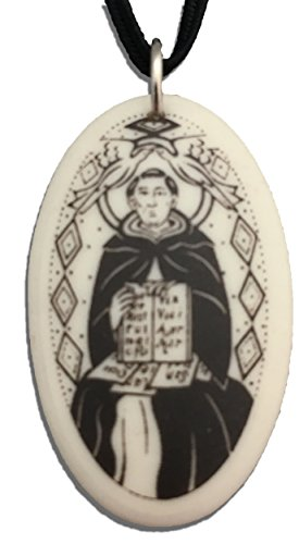 (Patron Saints St Thomas Aquinas Porcelain Oval Medal on Braided Cord of Students and Catholic Schools)