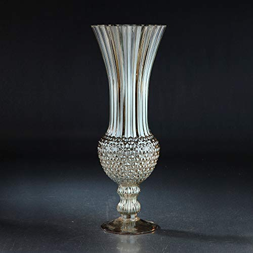 CC Home Furnishings Pack of 4 Gray Flared and Flute Floral Pattern Glass Vases ()