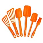 Rachael Ray Tools & Gadgets 6-Piece Nylon Tool Set, Orange 8 6-piece utensil set includes pastry brush, 10- and 12-inch turners, 10- and 12-1/2-inch spoon spatulas, and large angled spatula Silicone pastry brush and spatula heads heat safe up to 500 degrees F; nylon turner heads heat safe to 400 degrees F Handles heat safe to 350 degrees F; soft edges great for avoiding scratching cookware