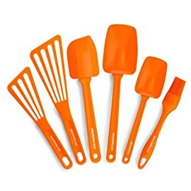 Rachael Ray Tools & Gadgets 6-Piece Nylon Tool Set, Orange 57 6-piece utensil set includes pastry brush, 10- and 12-inch turners, 10- and 12-1/2-inch spoon spatulas, and large angled spatula Silicone pastry brush and spatula heads heat safe up to 500 degrees F; nylon turner heads heat safe to 400 degrees F Handles heat safe to 350 degrees F; soft edges great for avoiding scratching cookware