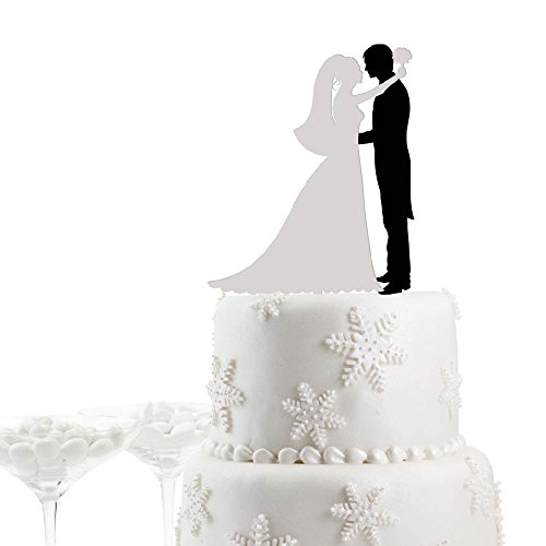 Bride - Groom Black Suit White Bridal 2 Color Wedding Cake Topper Mr Mrs Topper - My Usps.com Track Package