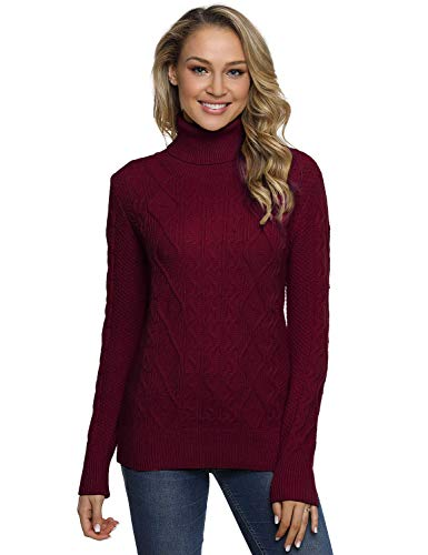 PrettyGuide Women's Turtleneck Sweater Long Sleeve Cable Knit Sweater Pullover Tops L Burgundy