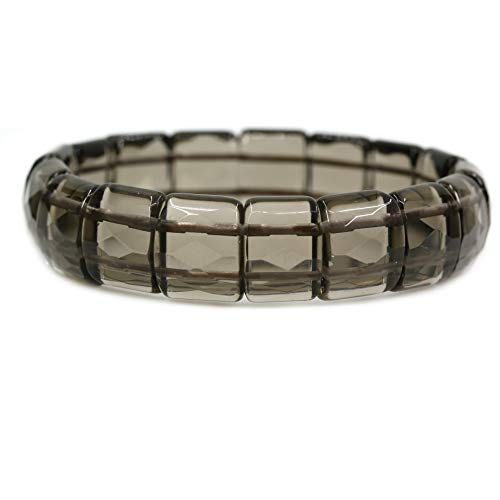 Amandastone Natural Smoky Quartz Genuine Semi Precious Gemstone 15mm Square Grain Faceted Beaded Stretchable Bracelet 7.5