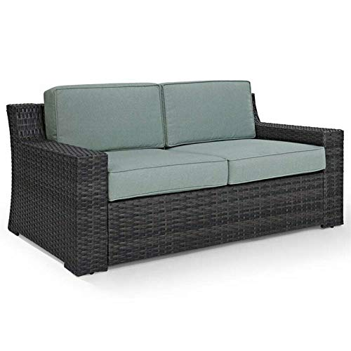 JumpingLight Wicker Patio Loveseat in Brown and Mist Durable and Ideal for Patio and Backyard (Patio Mist Loveseat)