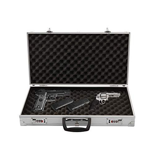 Aluminum Lock Box Pistol Case Handgun Foam Safe Carry Storage Hard Storage Carry -