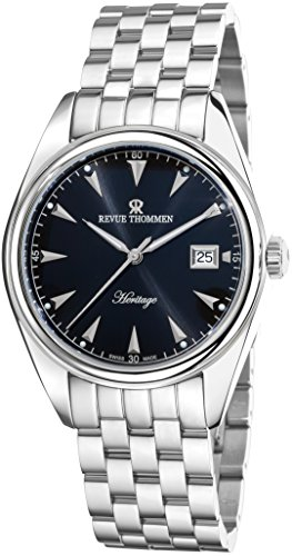 Revue Thommen Heritage Mens Automatic Watch - 41mm Analog Black Face with Second Hand Date Sapphire Crystal Dress Watch - Stainless Steel Metal Band Swiss Made Luxury Watches for Men 21010.2137