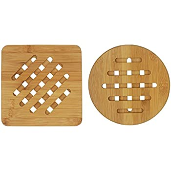 Attractive Bambri Bamboo Trivets For Kitchen, Hot Pads, Teapot Trivet, Pack Of 2 (