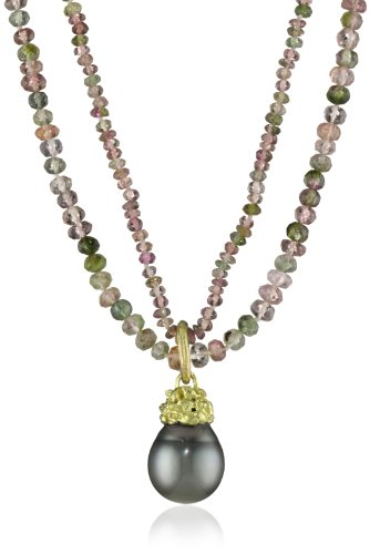 Gabrielle-Sanchez-Double-Strand-Tourmaline-Nest-Set-Black-Tahitian-Pearl-Multi-Colored-Strand-Necklace