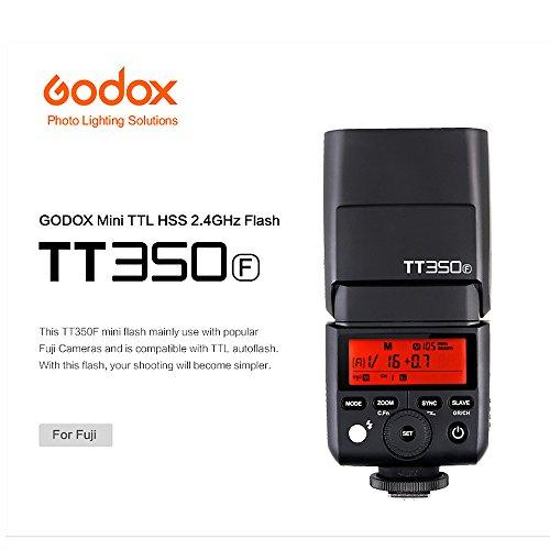 Godox TT350F 2.4G HSS 1/8000s TTL GN36 Camera Flash Speedlite Fuji Cameras X-Pro2 X-T20 X-T2 X-T1 X-Pro1 X-T10 X-E1 X-A3 X100F X100T Color Filters PERGEAR Cleaning Cloth