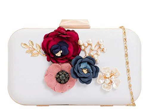 Bag Handbag Clutch Hard Floral Floral Case Women's Wedding LeahWard Evening White yRYqwfp