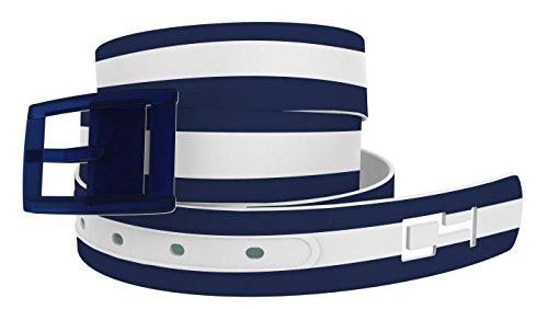 C4 Design Belt: Stripe White/Navy Strap/Navy Buckle - Fashion Belt - Waist Belt for Women and Men