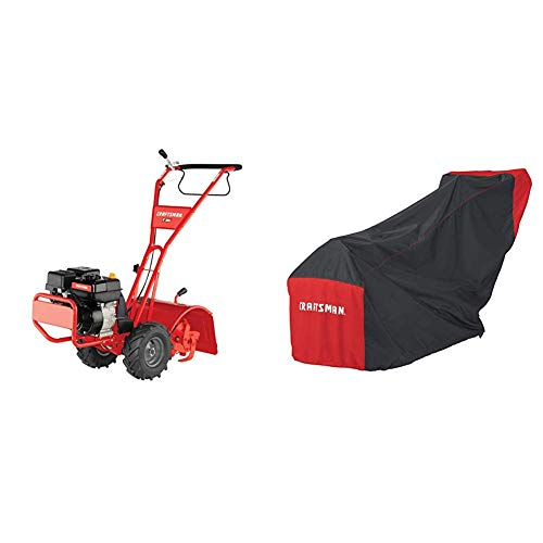 Craftsman CMXGVAM1144037 208cc 16-Inch Gas Powered Rear Counter Rotating Tine Tiller With Craftsman Gas Rototiller Cover