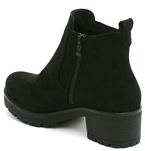 Suede Sole 9 PU Chunky Heel Wear Ladies Chelsea UK 7 Ankle Block EU Shoe Black 40 Suede Office USA Grip Boots w6vFCqv