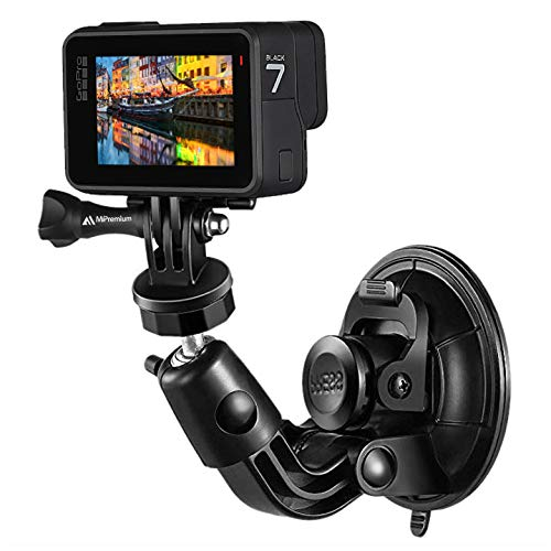 MiPremium Car Suction Cup Mount for GoPro Hero 8 7 6 5 4 3 3+ 2 Session Black Silver XIAOYI 4K SJCAM Xiaomi Yi EKEN Sports Action Camera Dash Cam Holder Perfect for Boats Vehicle Windshield & Window