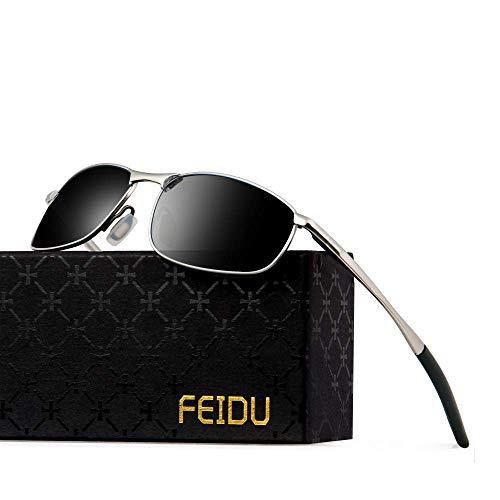 FEIDU Polarized Sport Mens Sunglasses HD Lens Metal Frame Driving Shades FD 9005 (Black/Silver, 2.24)