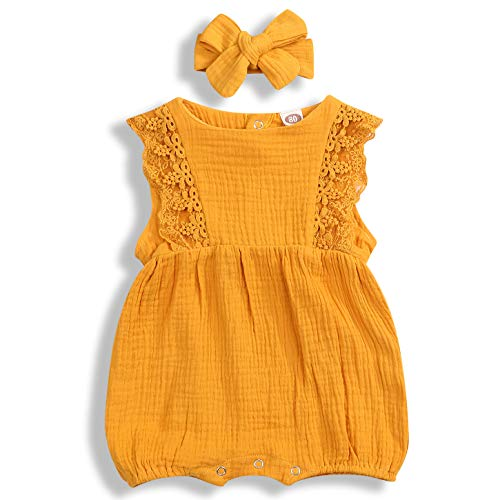 YOUNGER TREE Newborn Baby Girl Ruffle Romper Lace Sleeveless Bodysuits Bowknot Tassels Jumpsuit Sunsuits Summer Outfits (Yellow, 9-12 Months)