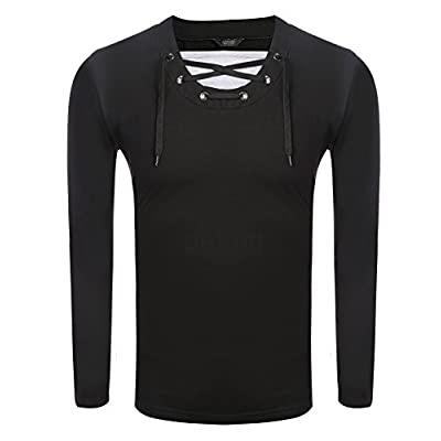 COOFANDY Men's Casual Lace Up V Neck Slim Fit Long Sleeve Pullover T-Shirt | .com