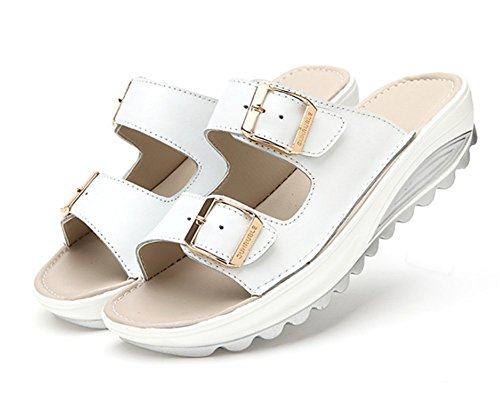 Ups Platform Peep Shoes for Women's Toe Women Wedges Heeled Cystyle Sandals White Shape Walking Leather Comfort Y4fqww