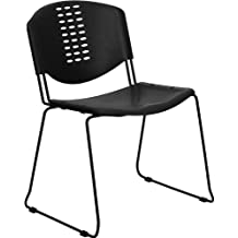 Flash Furniture HERCULES Series 400 Lb. Capacity Black Plastic Stack Chair with Black Powder Coated Frame Finish