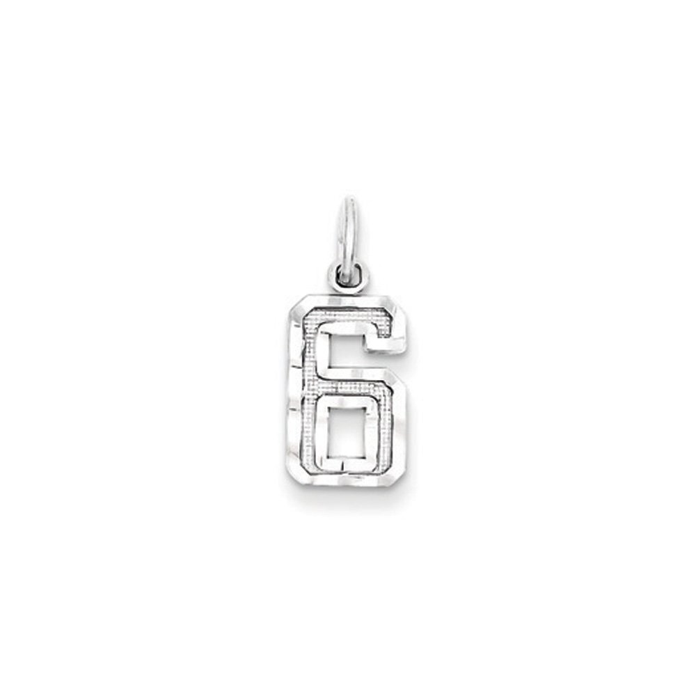 Sterling Silver Rhodium-plated Small Polished Number 8 Charm New Sports Pendant