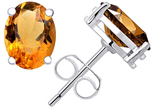 0.8 Ct Yellow Citrine Gemstone Birthstone 925 Sterling Silver Stud Earrings Oval 6x4mm For Women