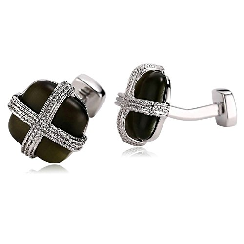 Aokarry Cufflinks-Men's Stainless Steel Cross Lines Square Cuff Links Silver Green