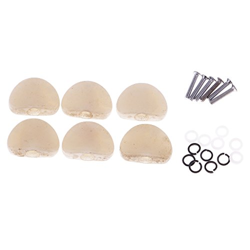 MonkeyJack 6 Pieces Tuner Machine Heads Knobs Cap Set for Acoustic/Electric Guitar Accessory Pearl-White