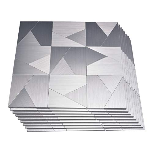Art3d Peel and Stick Metal Backsplash Tile, Brushed Stainless Steel in Triangle Jigsaw, Pack of 10 Tiles 12
