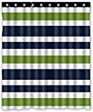 Blue and Green Shower Curtain Brand New Navy Blue,Green and White Stripe Waterproof Polyester Bath Shower Curtain,60 by 72-Inch