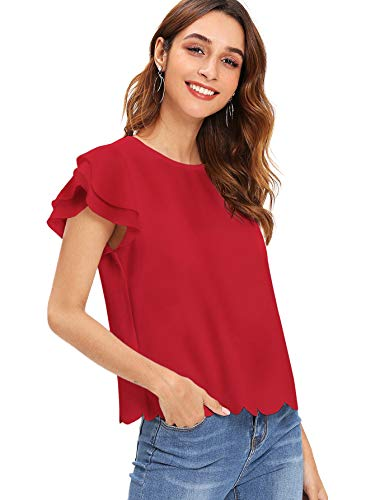 (Floerns Women's Ruffle Sleeve Scallop Hem Short Sleeve Blouse Top Red XS)