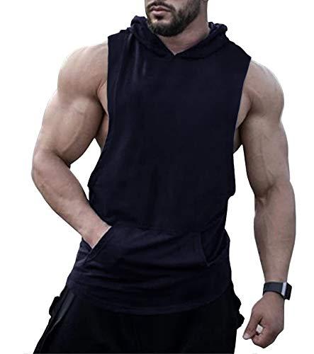 URRU Mens Sleeveless Hoodie Gym Tank Tops Bodybuilding Gym Hoodie Tee Navy Blue XL (Sleeveless Hoodie Gym)