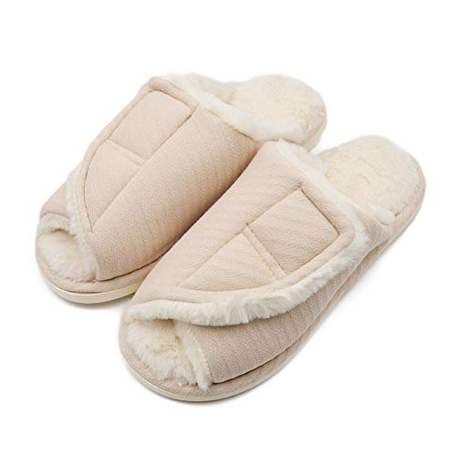 423901c9d2 Women's Furry Memory Foam Diabetic Recovery Slippers, Adjustable Closure Orthopedic  Shoes Fit for Swollen Feet