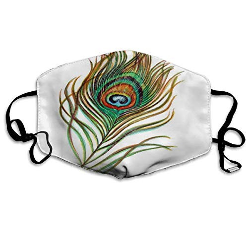 Face Mask Peacock Feather Painting Original Custom Personalized Cycling Half Face Earloop Dust Mask for Woman