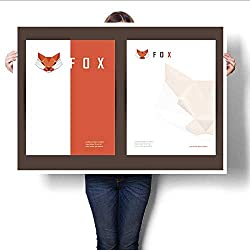 """Art-Canvas Prints brochure Cover and letterhead Template with red Fox Head Element Print Paintings for Home Wall Office Decor 16""""x20"""""""