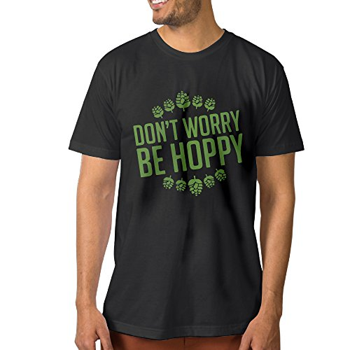 Pale Ale Organic (Design Don't Worry Be Hoppy 100% Organic Cotton Short Sleeve T Shirt For Man Black S)