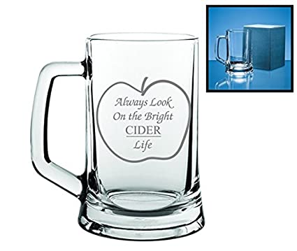 2ed4ac930 Novelty Gift Engraved Tankard Cider Glass | Always Look On The Bright CIDER  Life: Amazon.co.uk: Kitchen & Home