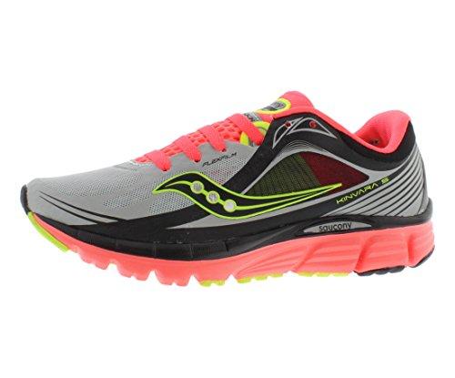 Saucony Women's Kinvara 5 Viziglo Running Shoe,Silver/Vizi Coral/Citron,9.5 M US