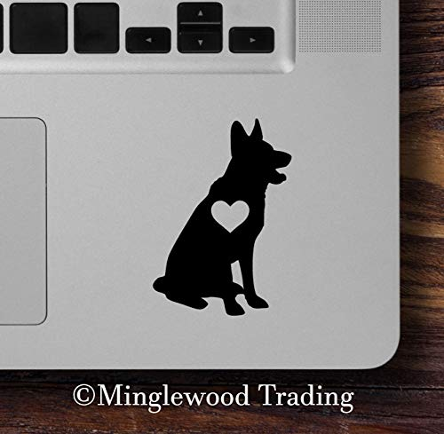 - Minglewood Trading Set of Two German Shepherd with Heart Vinyl Stickers - GSD Love Dog Puppy -V1- Die Cut Decals 2.5