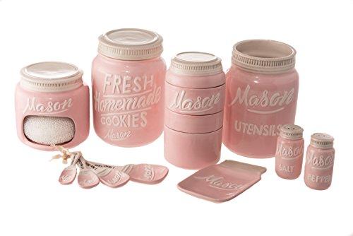 Goodscious 7-Piece Mason Jar Ceramic Kitchenware and Measuring Sets - Cookie Jar, Sponge Scrubber Holder, Utensil Crock, Salt and Pepper Shakers, Spoon Rest, Measuring Cups, Measuring Spoons (Pink) (Pink Utensil)