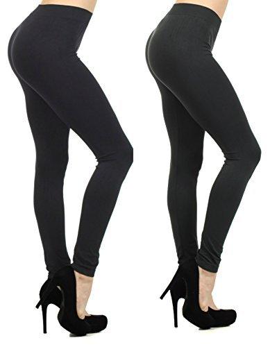 Fashion Mic Women's Regular and Plus Size Nylon Seamless Leggings (XL (10/12 - 16/18), 2pack: black/charcoal)