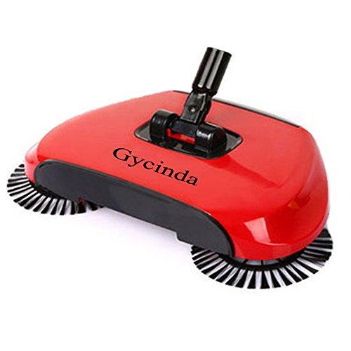 [Gycinda Natural Sweep 360 Degree High-speed Rotating Hand Push Dual Brush Sweeper (Red)] (Rotating Brushes Vacuum)