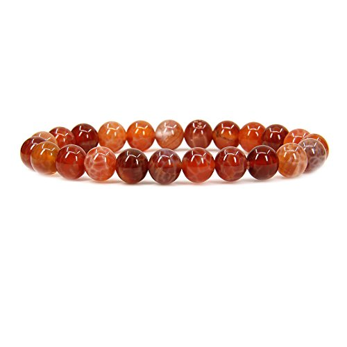 Natural Red Crab Fire Agate Gemstone 8mm Round Beads Stretch Bracelet 7