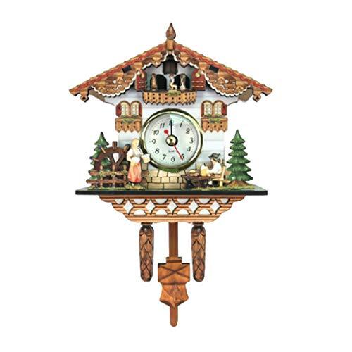 Vintage Cuckoo Clocks - Fenteer Vintage Decorative Clock Hanging Wood Cuckoo Clock Farmhouse Home Décor