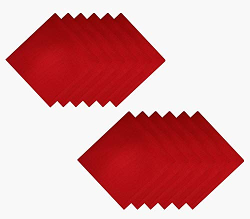 Tiny Break Cloth Napkins 17 x 17 inch -100% Cotton - Soft and Comfortable - Ideal for Events and Regular Home Use - Pavot Red -12 Pack (Napkins Cotton Red)